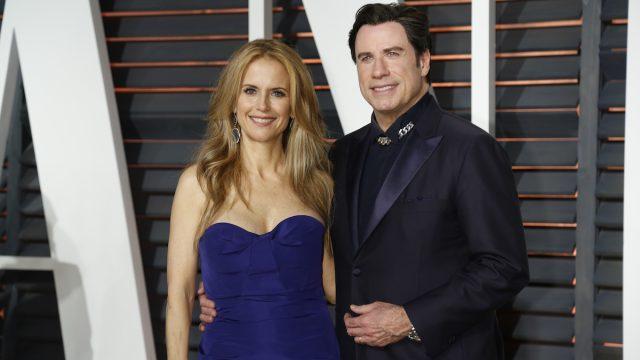Kelly Preston and John Travolta at the Vanity Fair Oscar Party in 2015