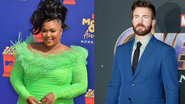 """Lizzo at the 2019 MTV Movie and TV Awards; Chris Evans at the """"Avengers: Endgame"""" premiere in 2019"""