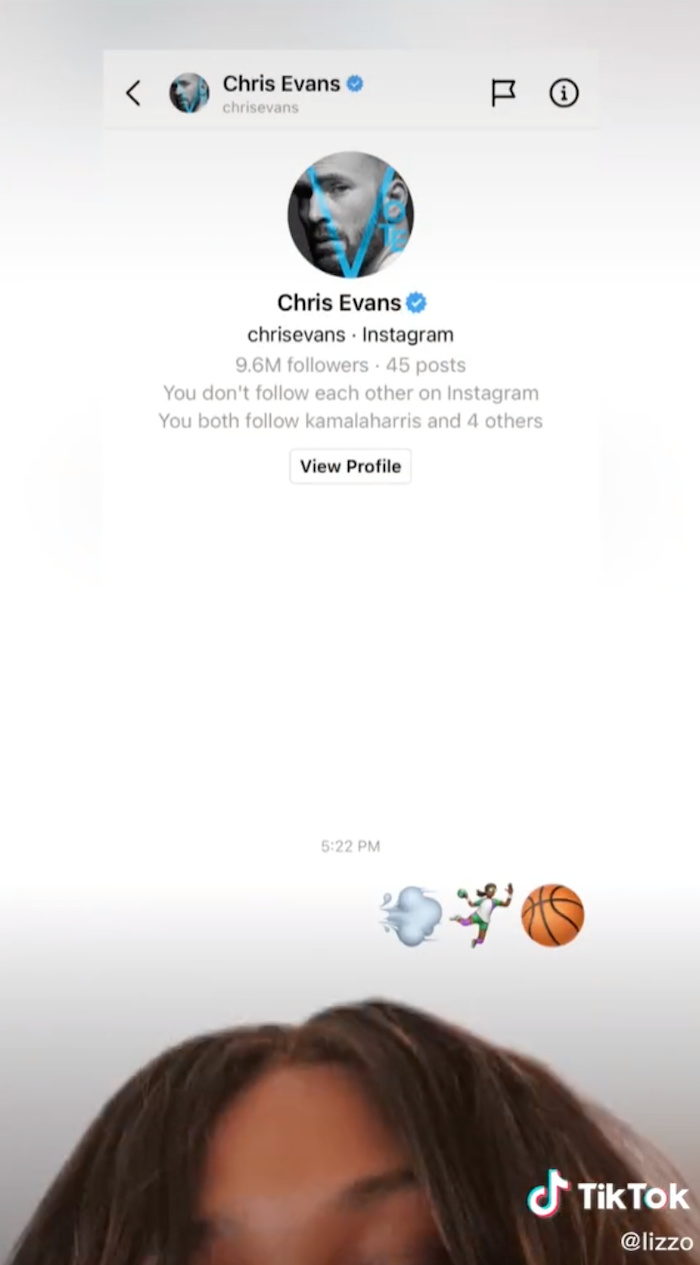 A screenshot of Lizzo's message to Chris Evans