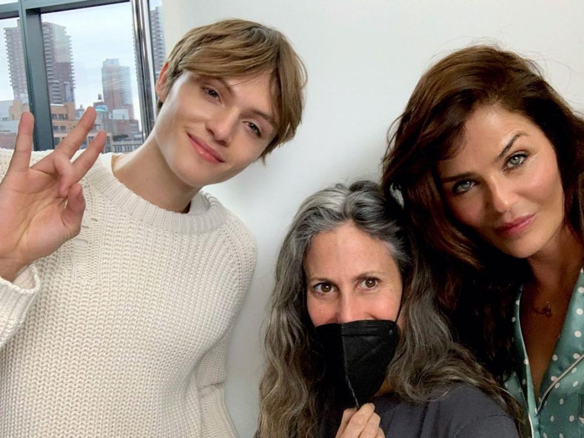 Mingus Reedus, Cass Bird, and Helena Christensen pose for a selfie