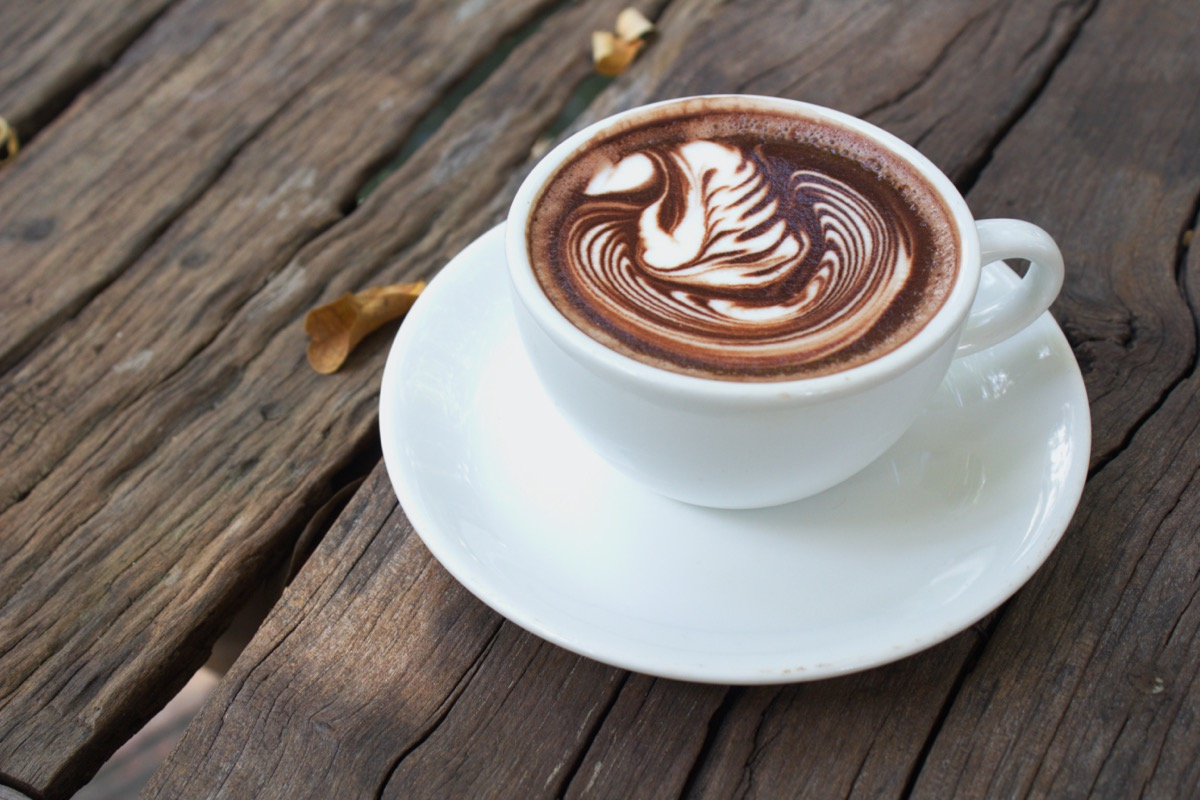 Hot mocha in white cup