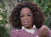Oprah during her interview with Meghan Markle and Prince Harry