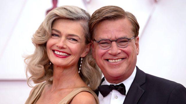 Paulina Porizkova and Aaron Sorkin at the 2021 Oscars