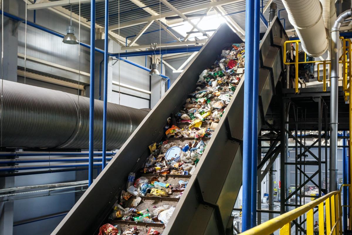 Recycling plant conveyor belt