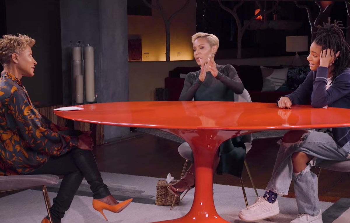 """Adrienne Banfield-Norris, Jada Pinkett Smith, and Willow Smith on """"Red Table Talk"""" in June 2019"""