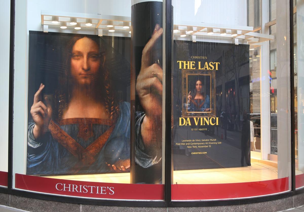 Salvator Mundi display at Christie's
