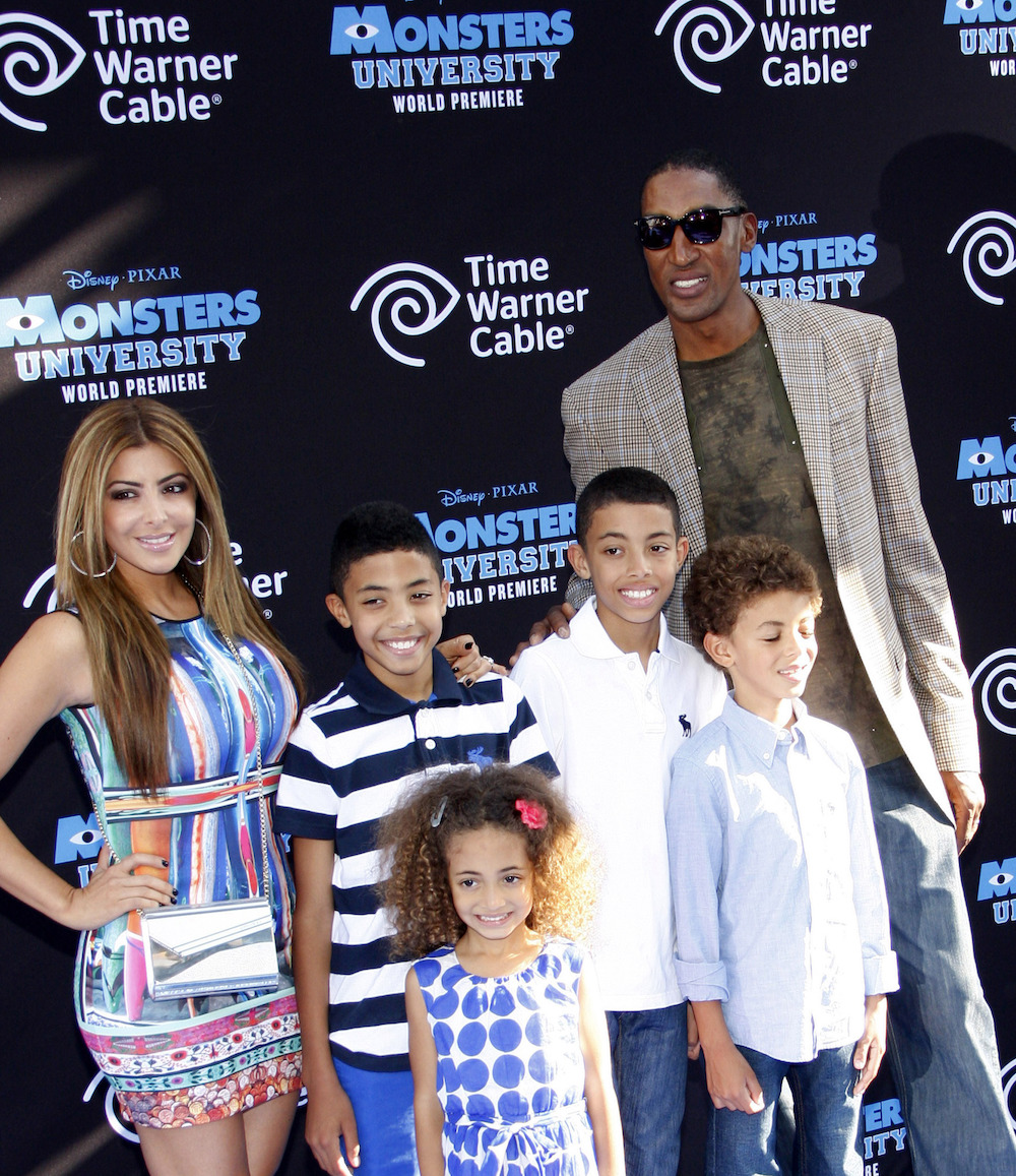 """Scottie Pippen with his family at the premiere of """"Monsters University"""" in 2013"""