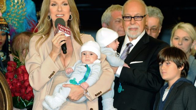 Celine Dion and husband with young sons at event
