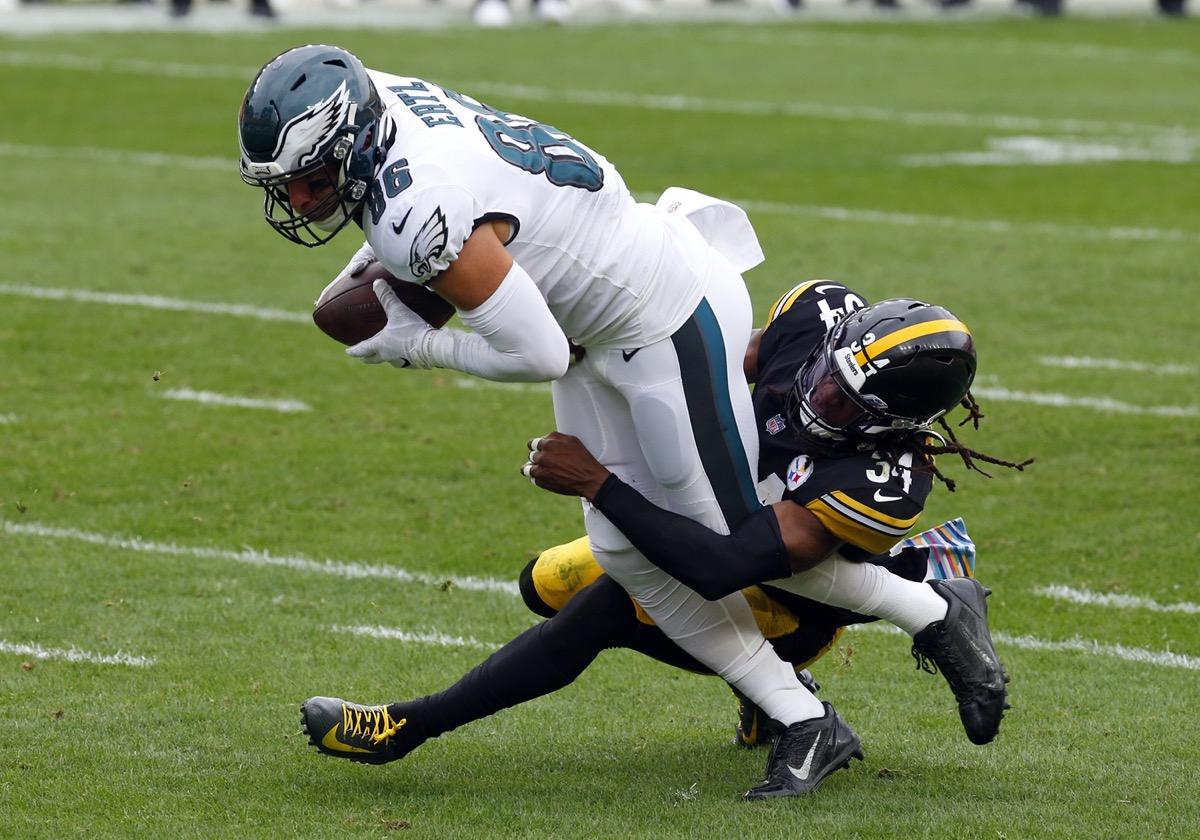 Zach Ertz of the Philadelphia Eagles runs after the catch against Terrell Edmunds of the Pittsburgh Steelers during the first half on October 11, 2020 at Heinz Field in Pittsburgh.