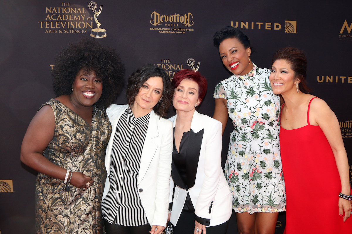 """The hosts of """"The Talk""""—Sheryl Underwood, Sara GIlbert, Sharon Osbourne, Aisha Tyler, and Julie Chen—at the Daytime Emmy Awards in 2016"""