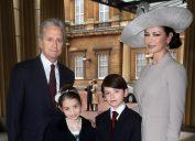 Michael Douglas, Catherine Zeta-Jones, Carys, and Dylan at Buckingham Palace in 2011