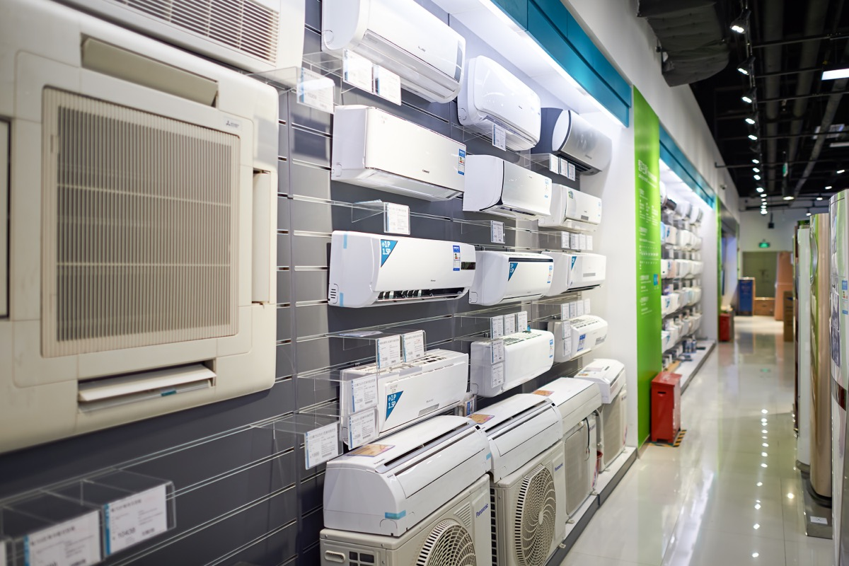 store with air conditioners on wall