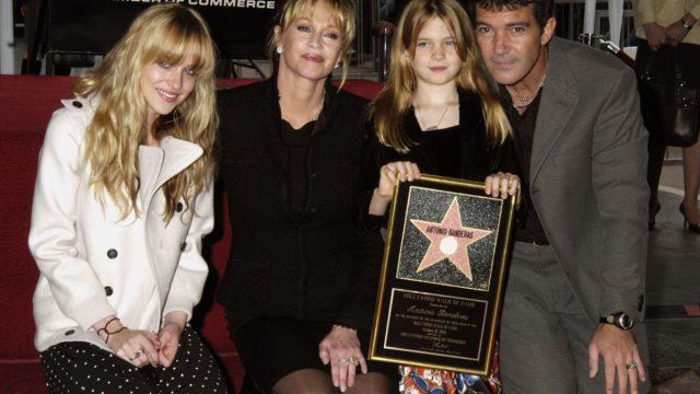 dakota johnson, melanie griffith, antonio banderas, and stella banderas on the hollywood walk of fame