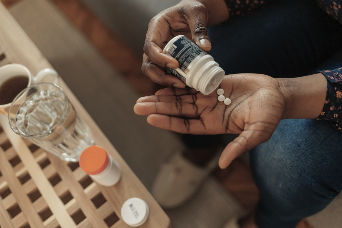 Woman Taking Out Pills From Bottle, Supplements or Antibiotic, Female Preparing to Take Emergency Medicine, Chronic Disease, Healthcare and Treatment Concept