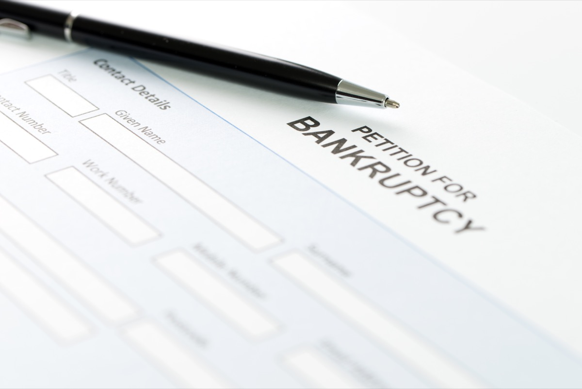 bankruptcy petition and pen
