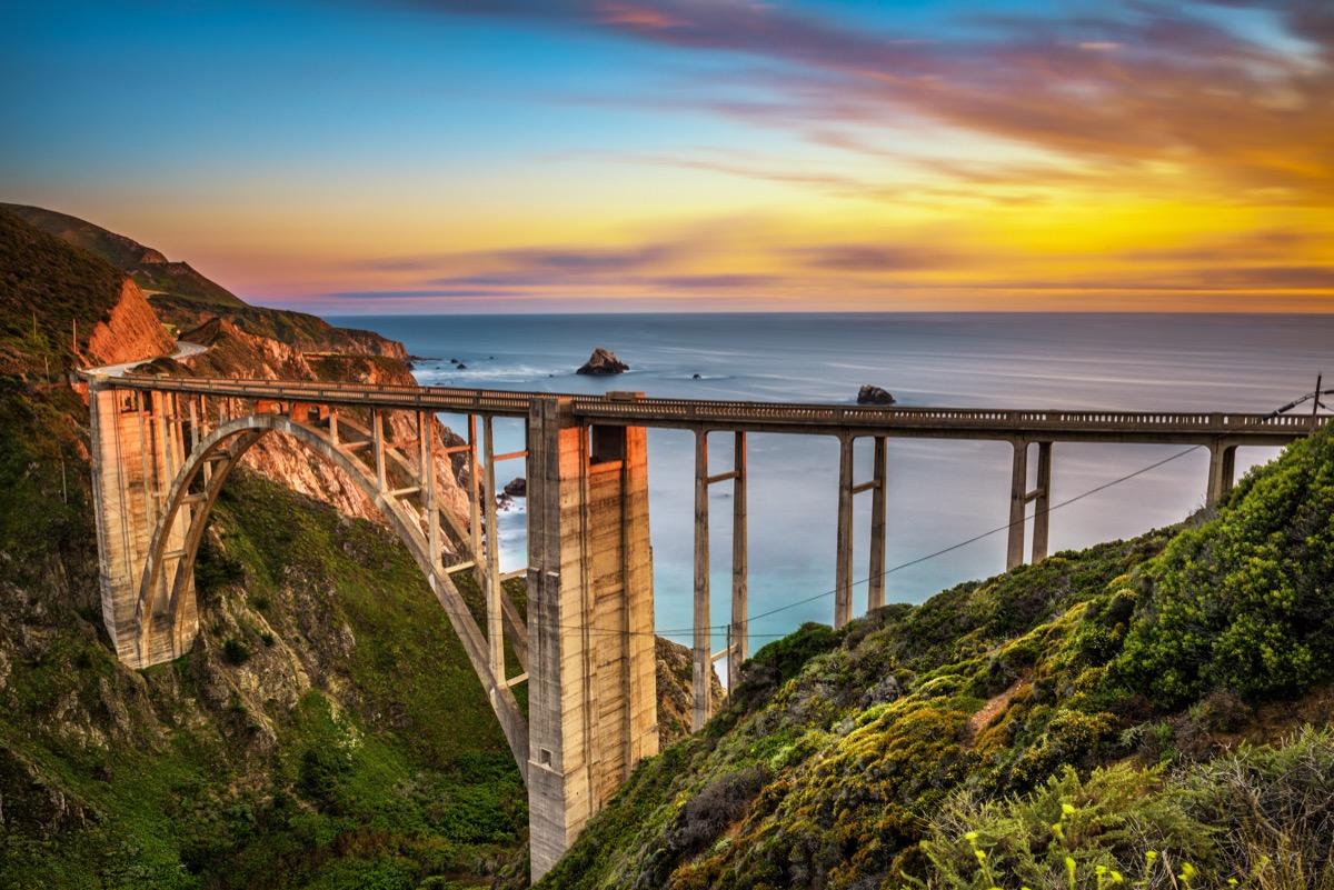 bixby bridge, sunset, california