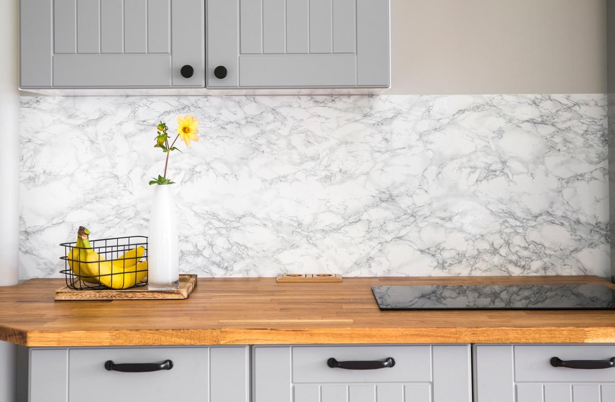 butcher block, wood counter, in kitchen