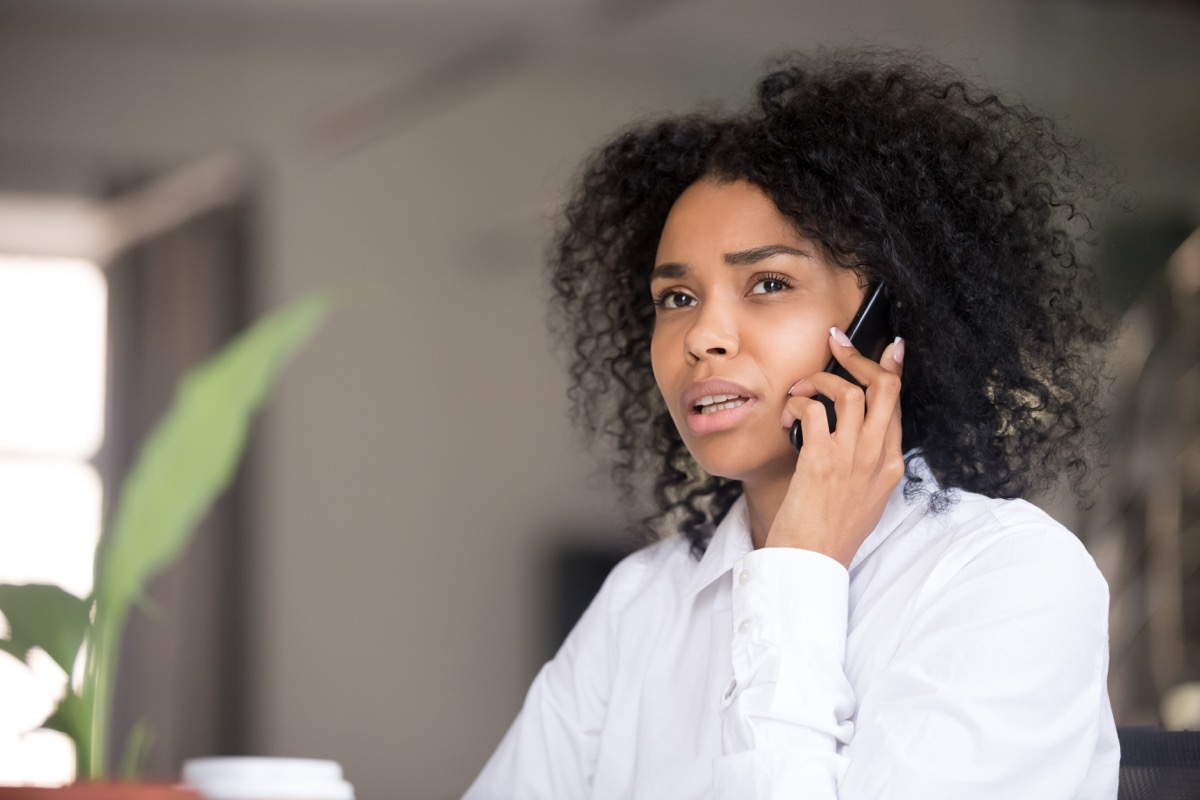 Woman concerned on phone call