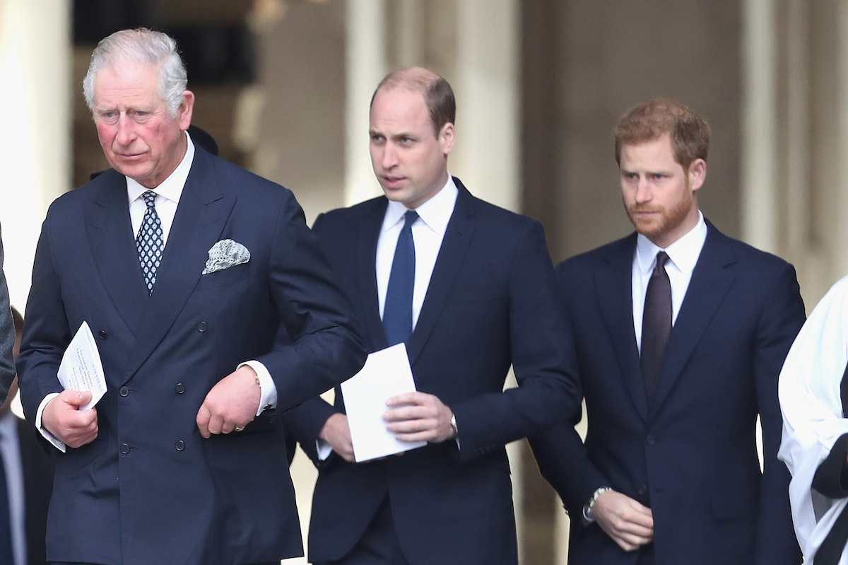 Prince Charles, Prince William, and Prince Harry attend the Grenfell Tower National Memorial Service held at St Paul's Cathedral on December 14, 2017 in London, England.