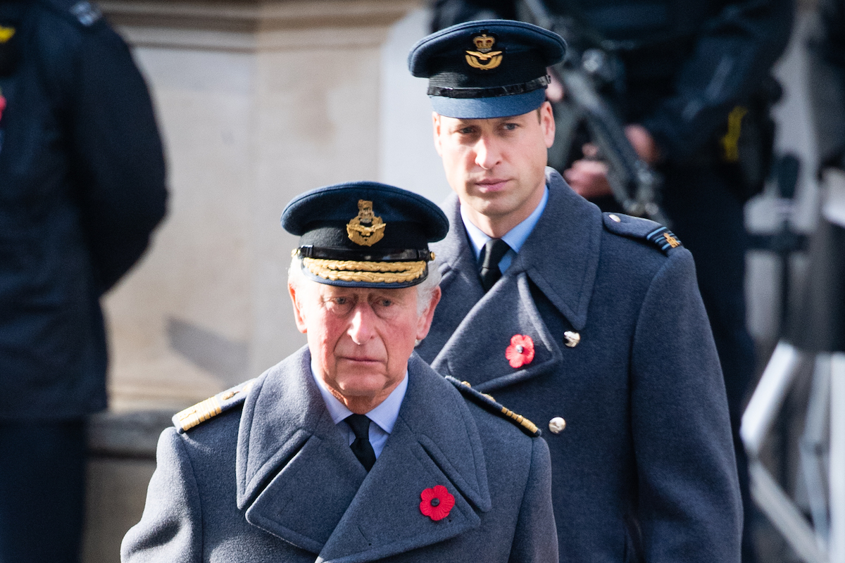 Prince Charles, Prince of Wales and Prince William, Duke of Cambridge during the National Service of Remembrance at The Cenotaph on November 08, 2020 in London, England