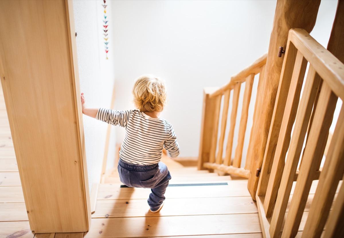 toddler walking down stairs