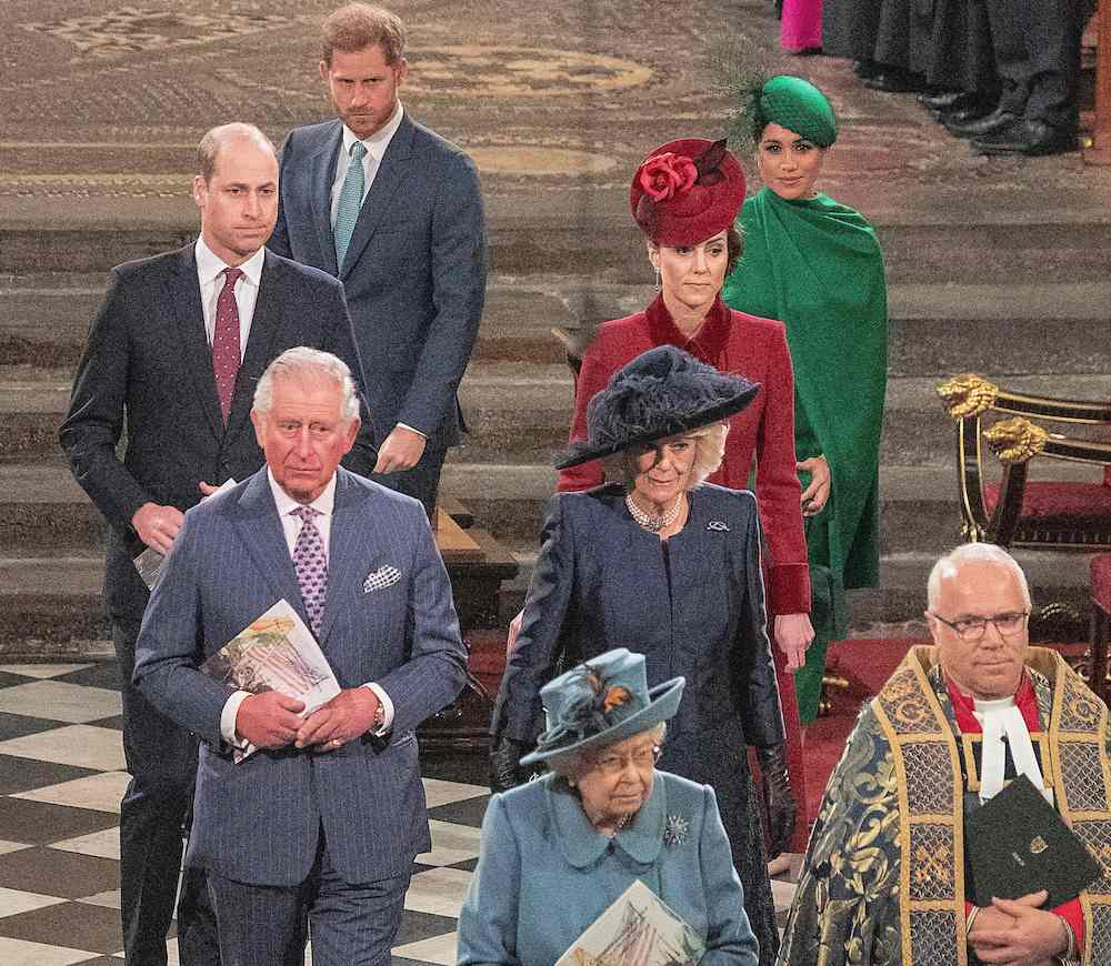 Britain's Prince William, Duke of Cambridge (L), Britain's Prince Charles, Prince of Wales (2nd L), Britain's Prince Harry, Duke of Sussex (3rd L), Britain's Camilla, Duchess of Cornwall (3rd R), Britain's Catherine, Duchess of Cambridge (2nd R) and Britain's Meghan, Duchess of Sussex (R) follow Britain's Queen Elizabeth II and The Dean of Westminster, David Hoyle as they depart Westminster Abbey after attending the annual Commonwealth Service in London on March 9, 2020