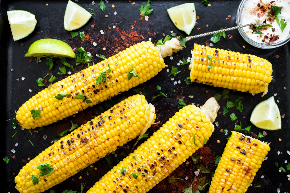 corn on the cob, mexican style, limes