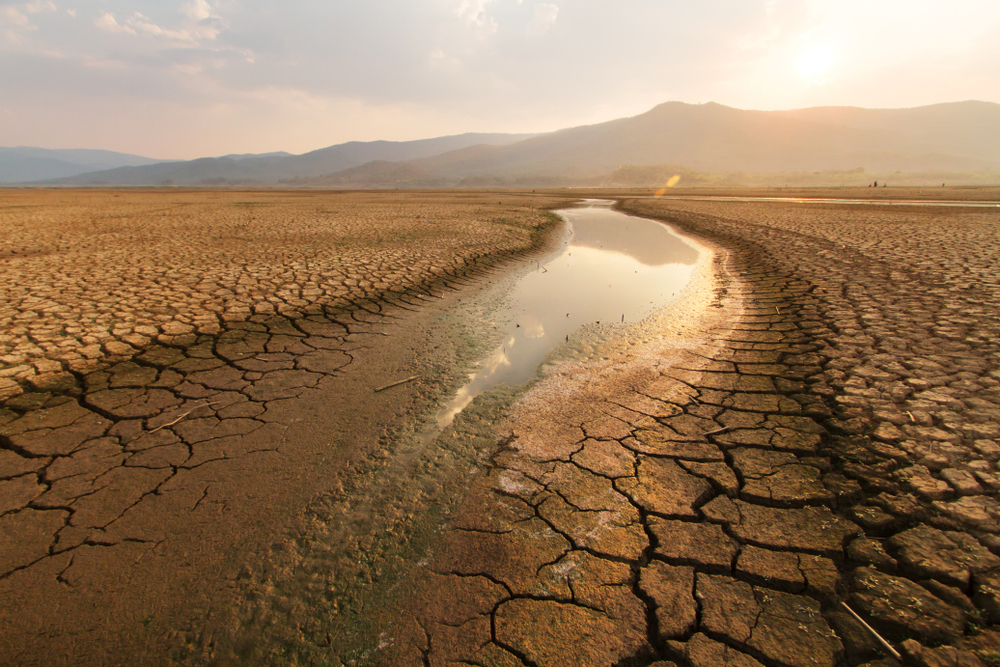 A dried lakebed in hot weather