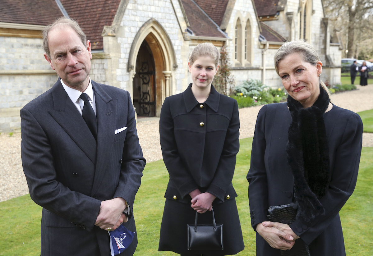 The Earl and Countess of Wessex, with their daughter Lady Louise Windsor, during a television interview at the Royal Chapel of All Saints, Windsor, following the announcement on Friday April 9, of the death of the Duke of Edinburgh at the age of 99.