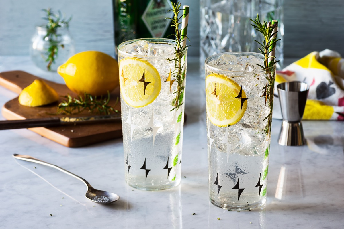 gin fizz cocktail with lemon and ice