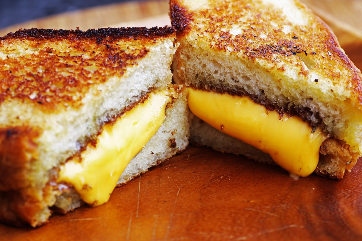 grilled cheese on thick bread, on table