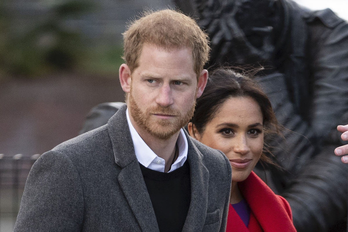 Prince Harry, Duke of Sussex and Meghan, Duchess of Sussex visit Hamilton Square to view a new sculpture erected in November to mark the 100th anniversary of Wilfred Owens death on January 14, 2019 in Birkenhead, England.