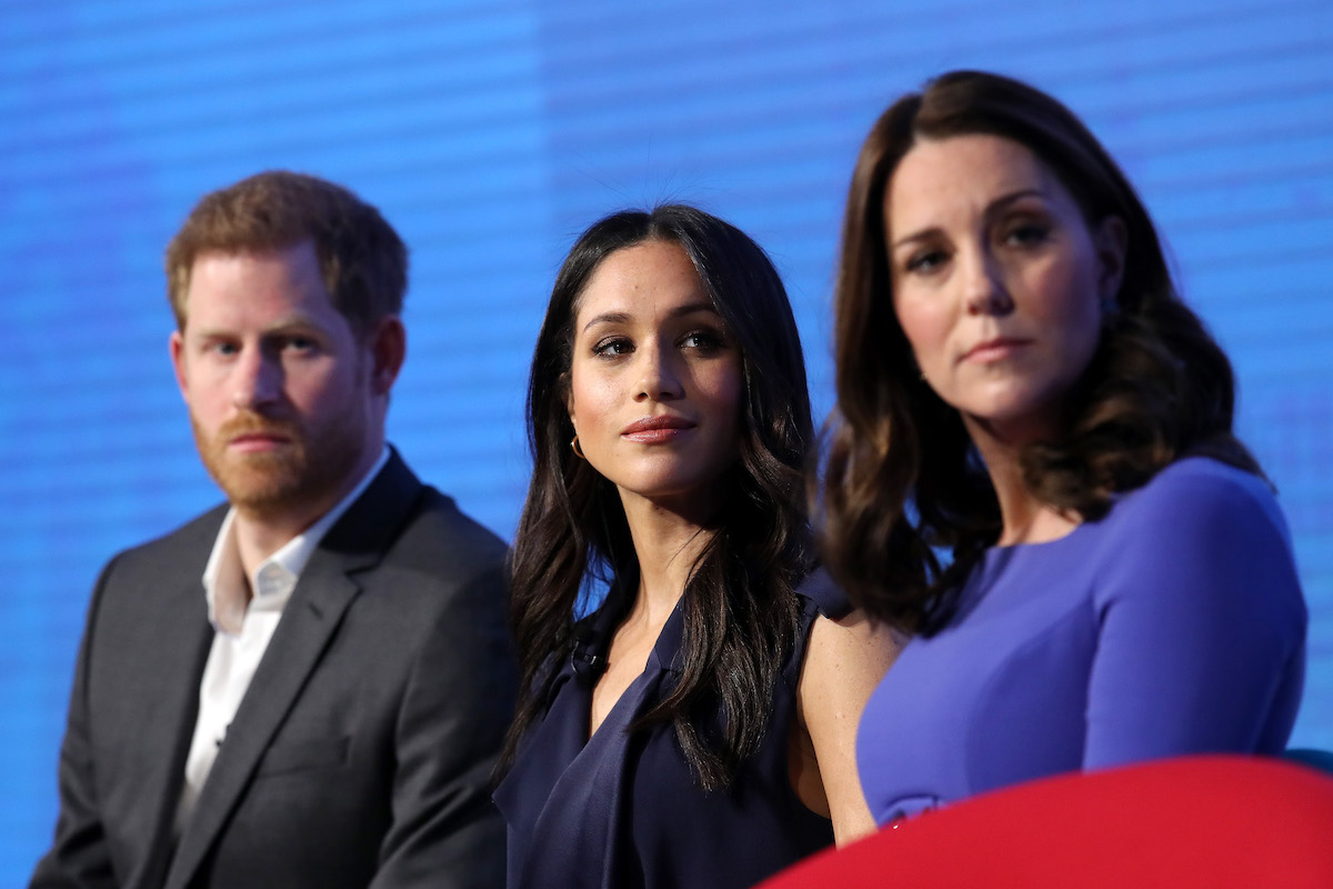 Catherine, Duchess of Cambridge, Prince Harry and Meghan Markle attend the first annual Royal Foundation Forum held at Aviva on February 28, 2018 in London, England.
