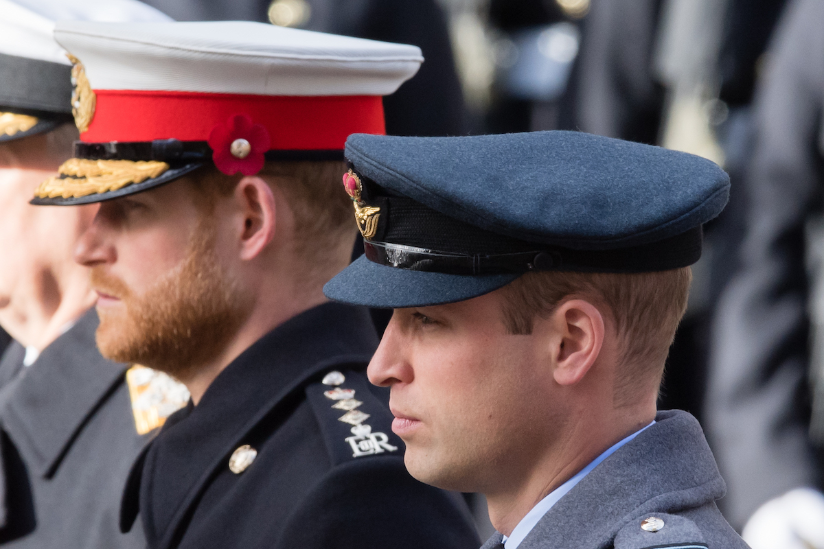 Prince Harry, Duke of Sussex and Prince William, Duke of Cambridge attend the annual Remembrance Sunday memorial on November 11, 2018 in London, England.
