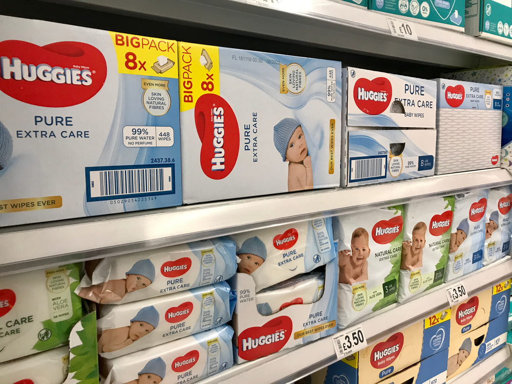 Huggies diapers on the shelf of a store