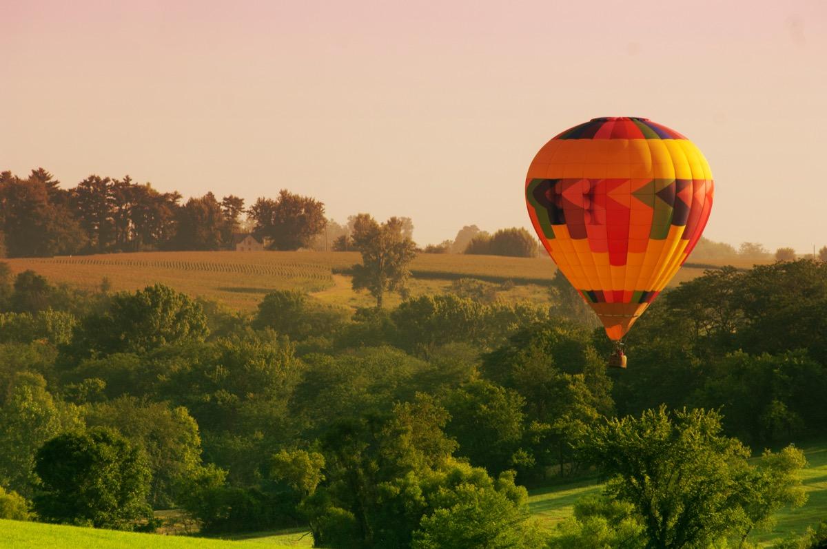 rural iowa, hot air balloon