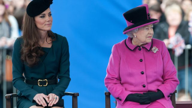 Catherine, Duchess of Cambridge and Queen Elizabeth II (R) during their visit to Leicester on March 8, 2012 in Leicester, England. The royal visit to Leicester marks the first date of Queen Elizabeth II's Diamond Jubilee tour of the UK between March 8 and July 25, 2012