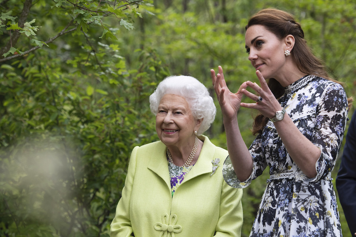 Queen Elizabeth II is shwon around 'Back to Nature' by Prince William and Catherine, Duchess of Cambridge at the RHS Chelsea Flower Show 2019 press day at Chelsea Flower Show on May 20, 2019 in London, England