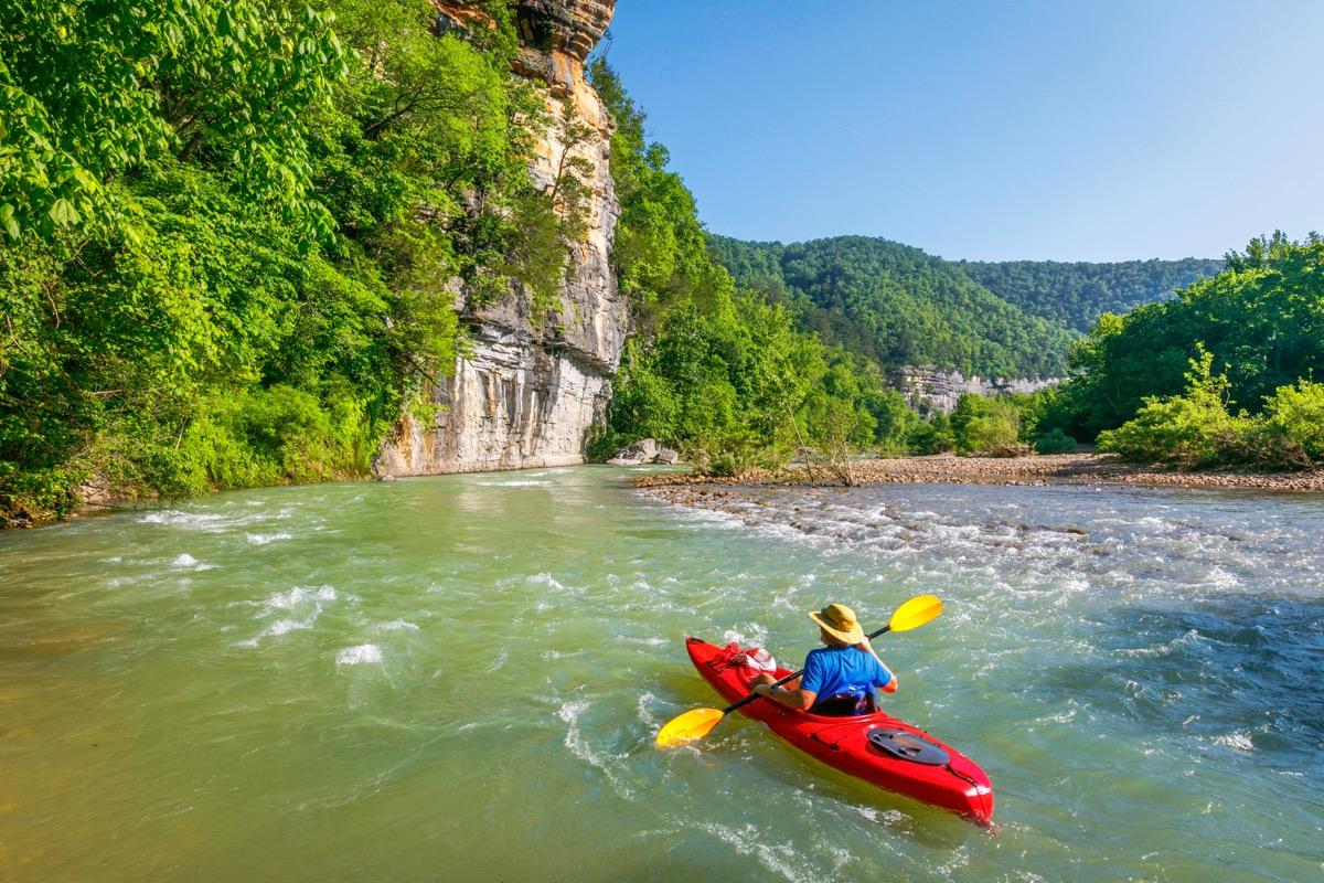 kayaker in ponco river in arkansas