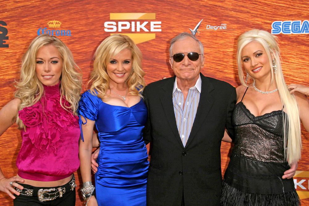 Kendra Wilkinson and Bridget Marquardt with Hugh Hefner and Holly Madison
