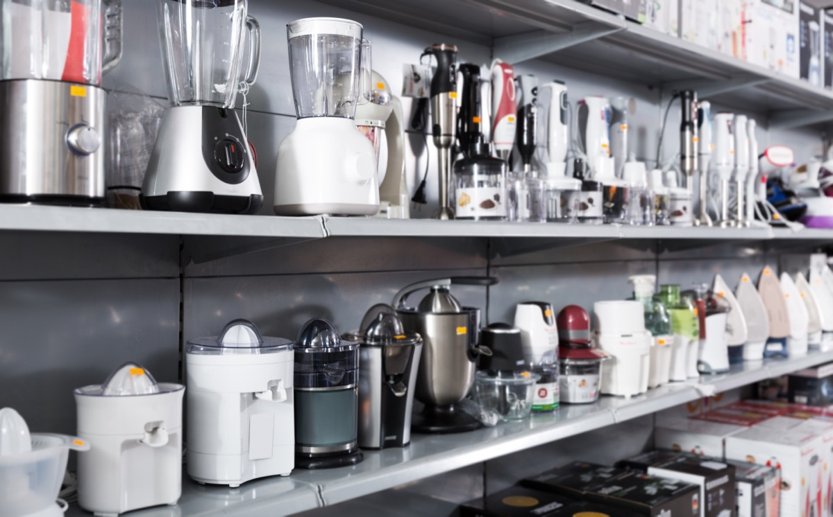 small appliances on shelves at kitchen appliance store