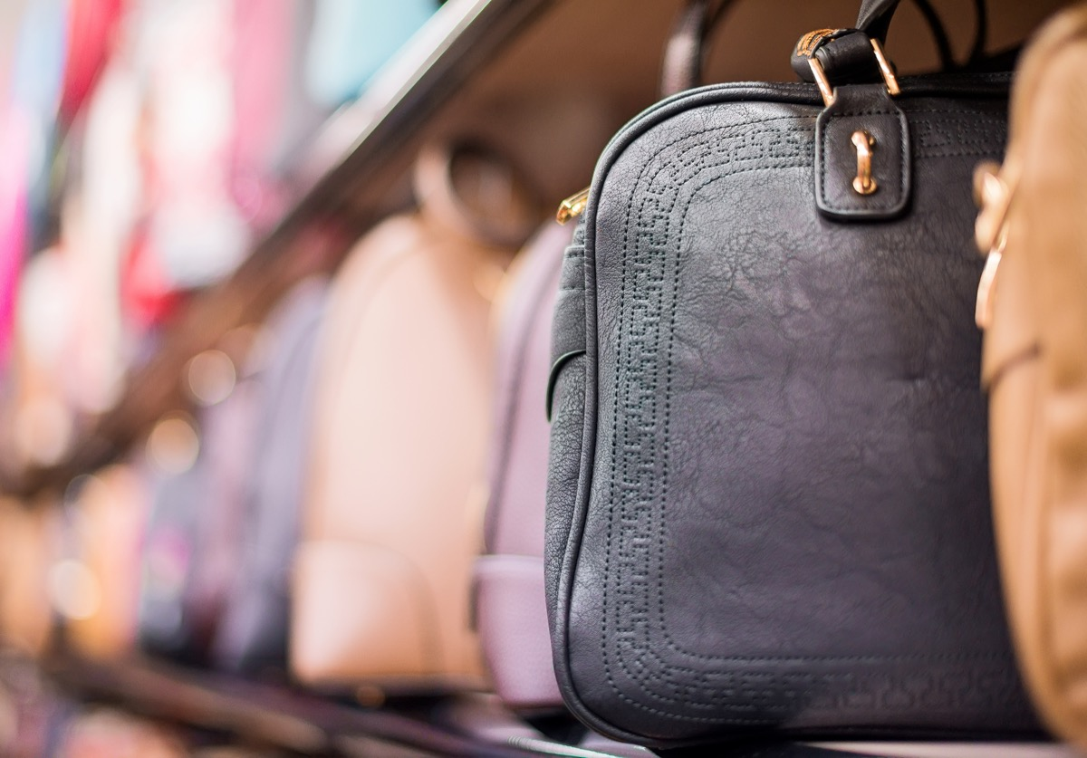 leather purse on rack