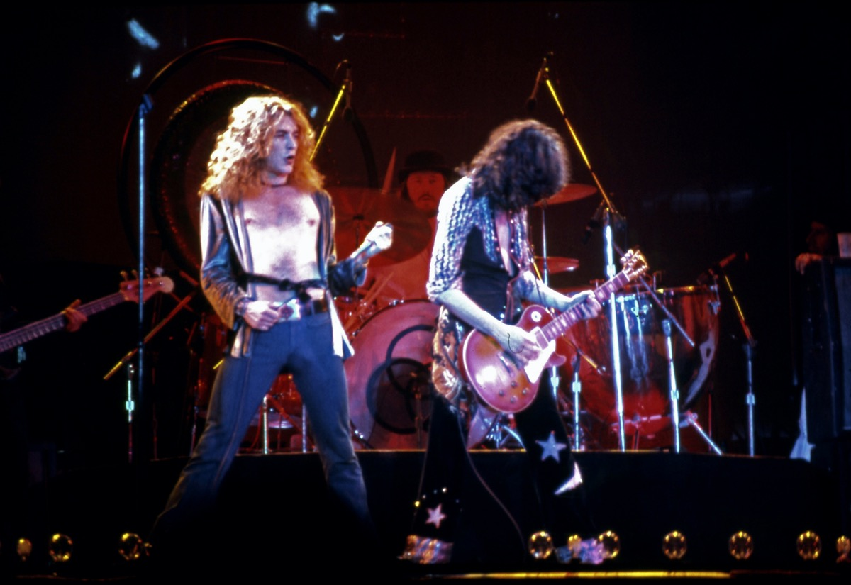 Led Zeppelin performing in 1975