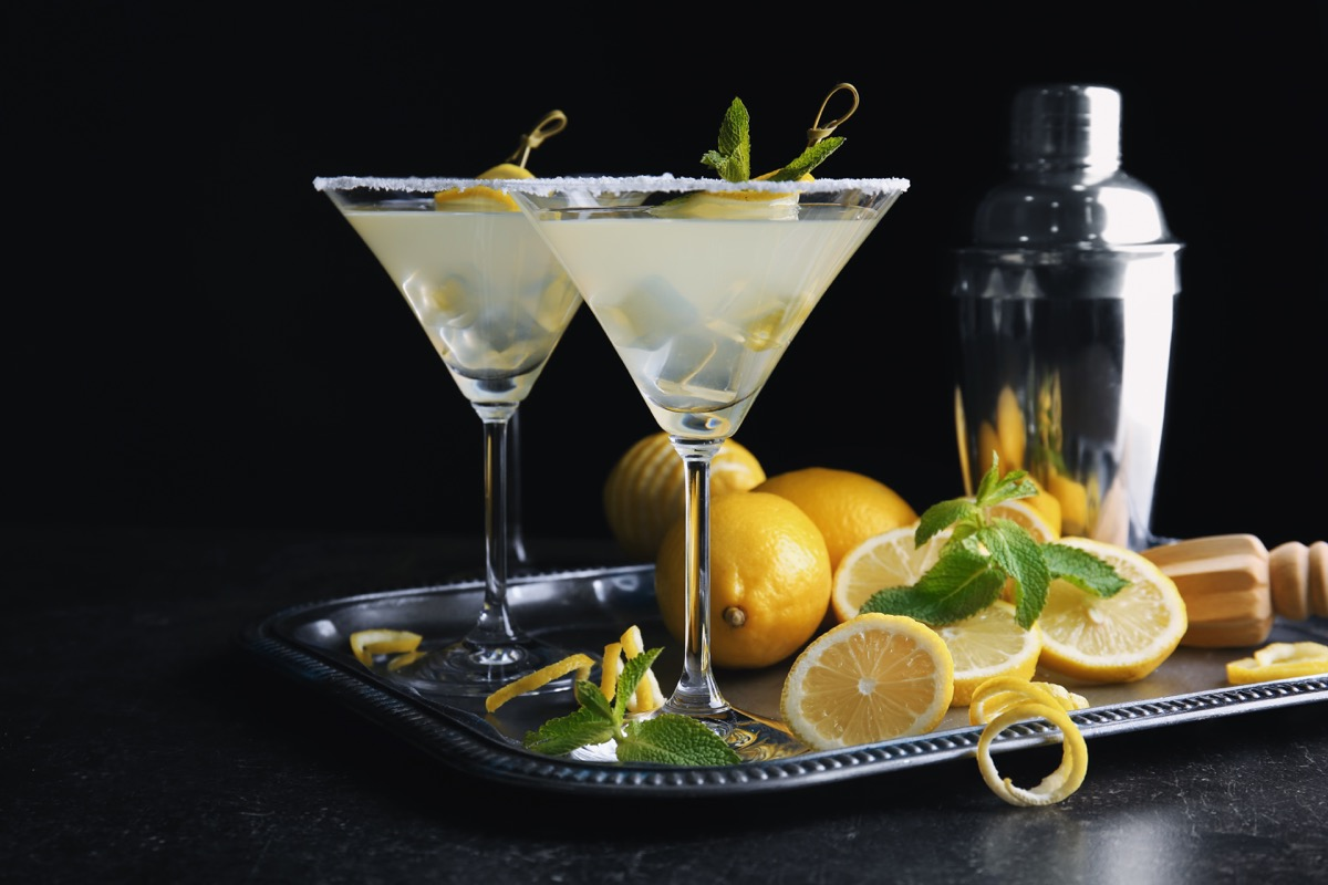 glasses of lemon drop martini on metal tray