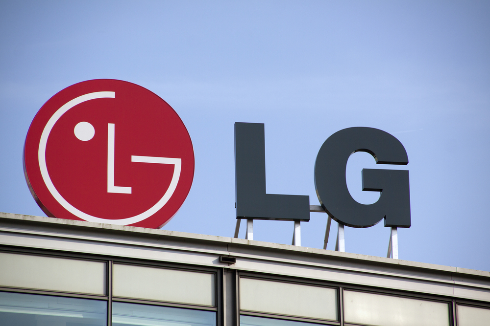 The logo of Korean tech company LG on top of a building