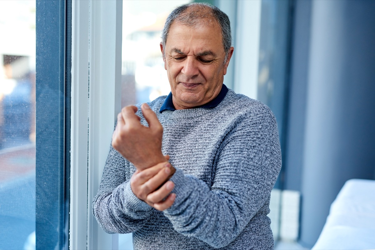 Shot of a senior man suffering from wrist pain