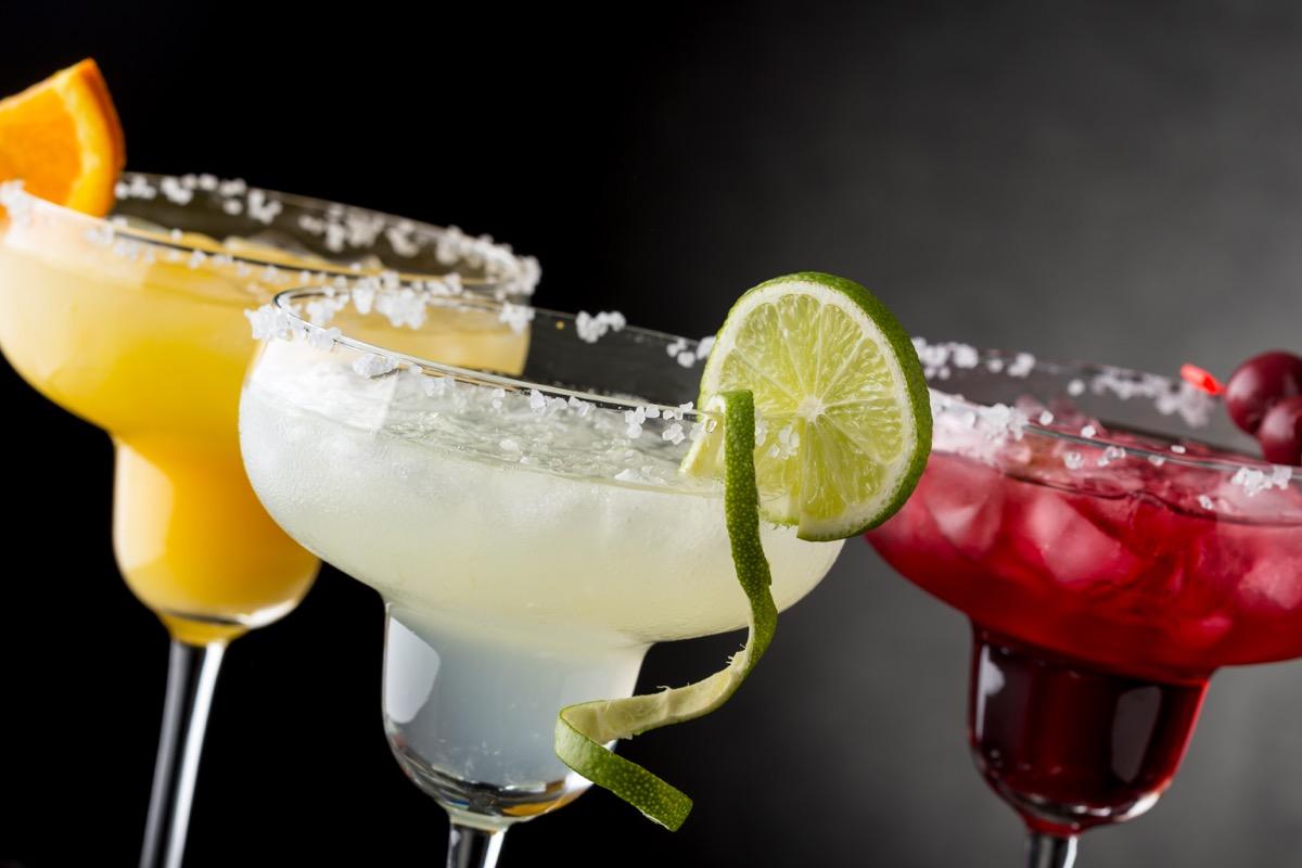 three margaritas, lime, cherry, orange