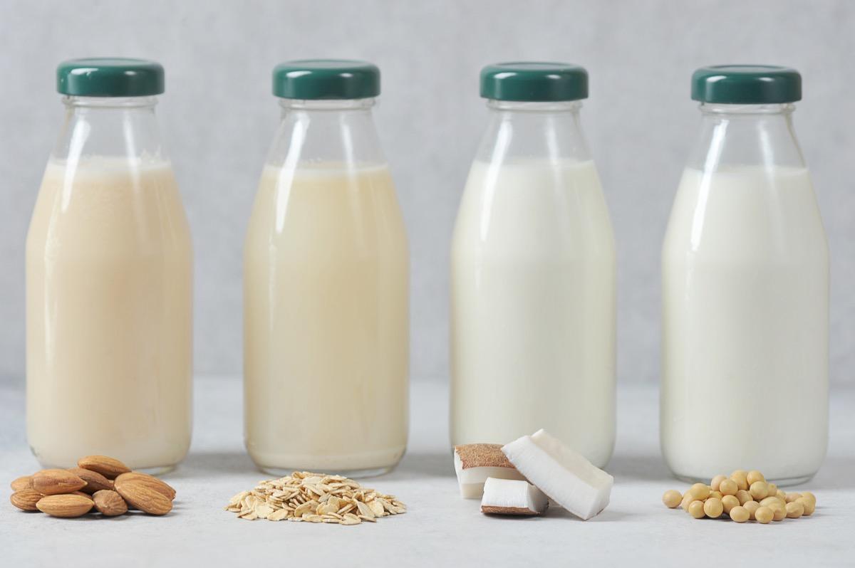 variety of milks, oat milk, coconut milk