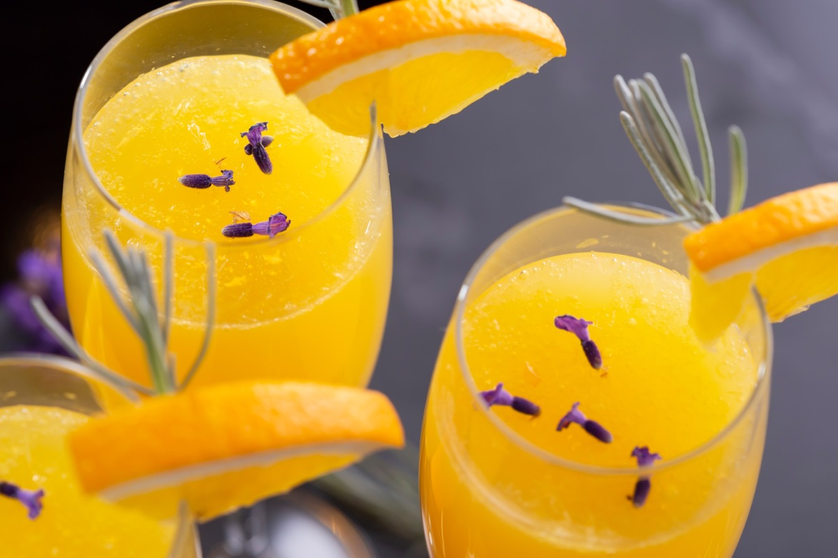 mimosa cocktails, oranges and lavender