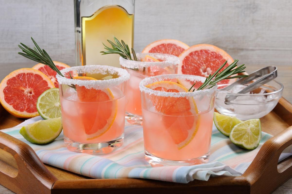 pink palomas, three glasses with grapfruit